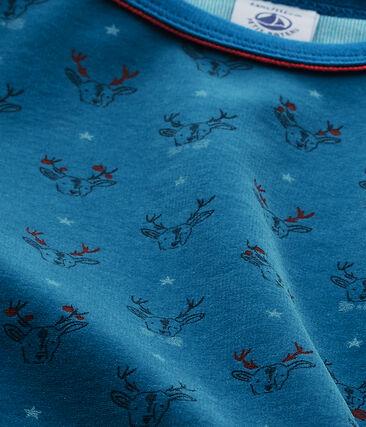 Jungen-Schlafanzug aus Velours-Frottier grau Capecod / blau Contes