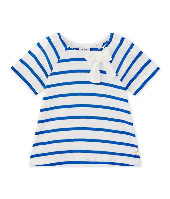Gestreiftes Baby-Mädchen-Kurzarmshirt weiss Marshmallow / blau Perse