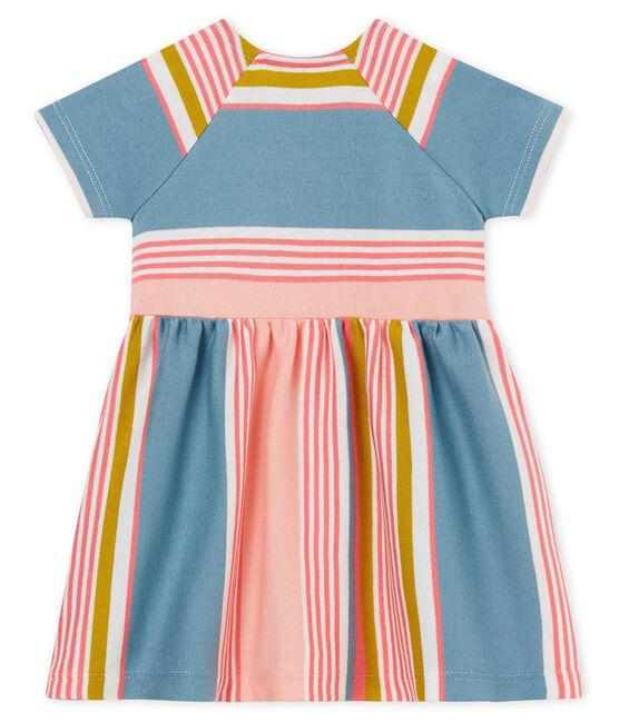 Gestreiftes kurzärmeliges baby-kleid mädchen weiss Marshmallow / weiss Multico