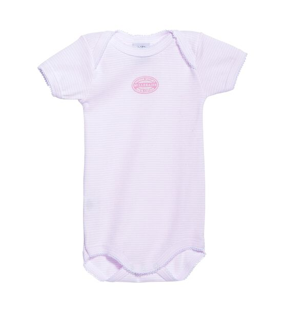 Baby-Body für Mädchen, Kurzarm, geringelt rosa Vienne / weiss Ecume