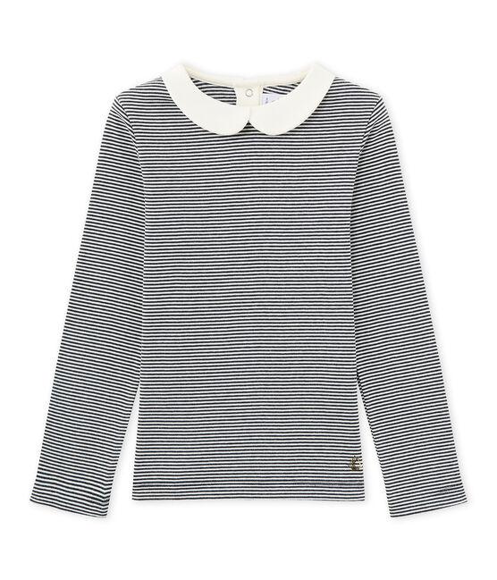Mädchen-Langarmshirt mit Milleraies-Ringelmuster blau Smoking / weiss Marshmallow