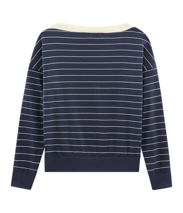 Langärmliger Sweater für Damen blau Smoking / beige Coquille