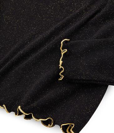Unterziehpullover mit Glitzer für Damen schwarz Noir / gelb Or