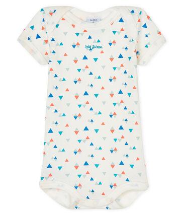 Kurzärmeliger Baby-Body für Jungen weiss Marshmallow / weiss Multico