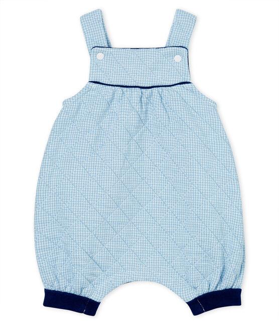 Kurze Baby-Latzhose aus gestepptem Doppeljersey blau Acier / weiss Marshmallow