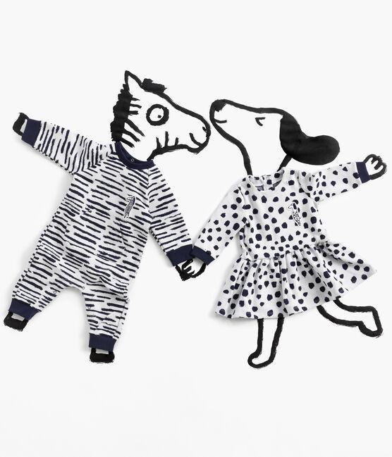 Jean-Jullien-Baby-Mädchenkleid mit langen Ärmeln MARSHMALLOW/DOTTIES CN