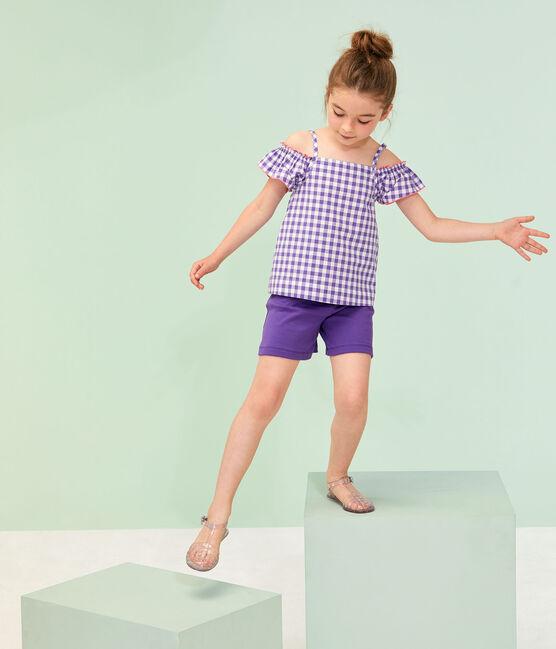 Kinderbluse für Mädchen violett Real / weiss Marshmallow