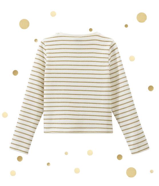 Mädchen Cardigan im Materialmix weiss Marshmallow / gelb Dore