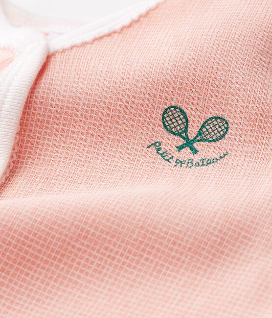 Baby-Strampler in Rippstrick für Mädchen rosa Rosako / weiss Marshmallow Cn