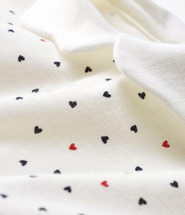 Baby-Strampler aus Rippstrick für Mädchen weiss Marshmallow / blau Contes