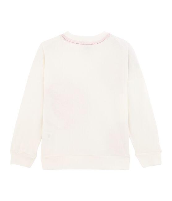 Kinder-Sweatshirt für Jungen - Mädchen weiss Marshmallow / rosa Geisha