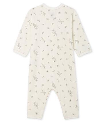 Baby-Strampler ohne Fuß aus Rippstrick für Mädchen weiss Marshmallow / weiss Multico