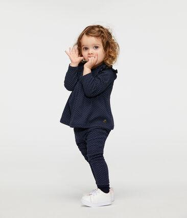 Langärmelige gemusterte Baby-Bluse für Mädchen blau Smoking / weiss Marshmallow