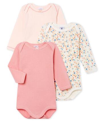 Trio langärmelige Baby-Bodys für Mädchen