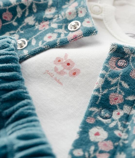 3-teiliges Baby-Set aus Velours und Rippstrick MOZAIK/MULTICO