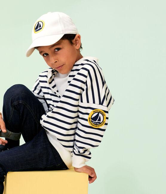 Kinder-Cardigan für Jungen weiss Marshmallow / blau Smoking