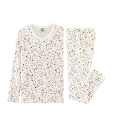 Sehr eng anliegender Rippstrick-Pyjama für kleine Mädchen