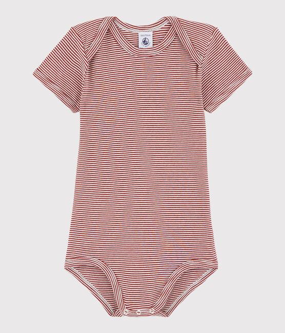 Kurzärmeliger Baby-Body Mädchen/Jungen rot Carmin / weiss Marshmallow