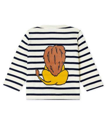 Co-Creation-Streifenshirt für Babys Unisex beige Coquille / blau Smoking