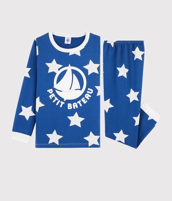 Pyjama mit Sternen aus Molton für kleine Jungen blau Major / weiss Ecume