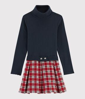 Langärmeliges Kinderkleid für Mädchen blau Smoking / weiss Multico