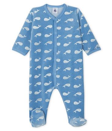 Strampler für Jungen aus Velours blau Alaska / weiss Marshmallow