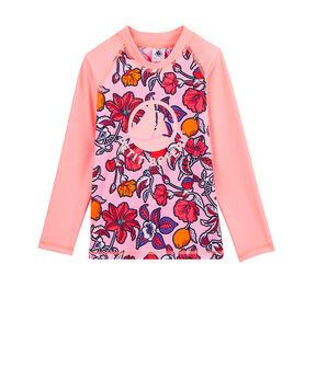 Umweltfreundliches Anti-UV-T-Shirt mit LSF 50+ Kinder Mädchen rosa Patience / weiss Multico
