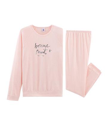 Pyjama aus aufgerautem, extra warmem Bouclé-Frottier für Mädchen rosa Minois