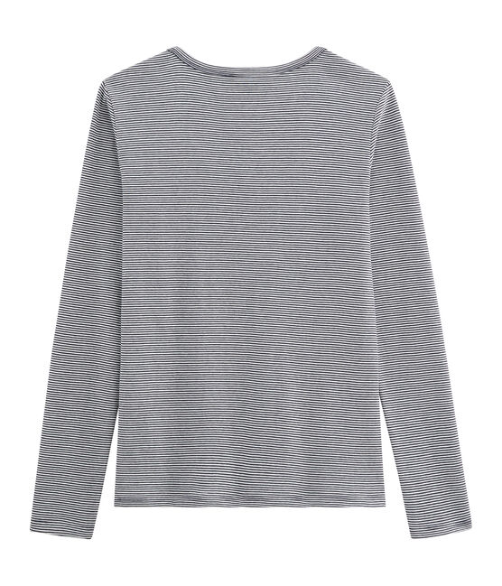 Ikonisches langärmliges T-Shirt für Damen blau Smoking / weiss Marshmallow