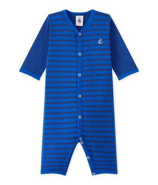 Baby-Jungen-Strampler ohne Fuß blau Perse / blau Chaloupe