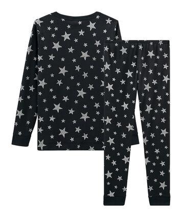 Sehr eng anliegender Rippstrick-Pyjama für kleine Jungen grau Capecod / grau Argent