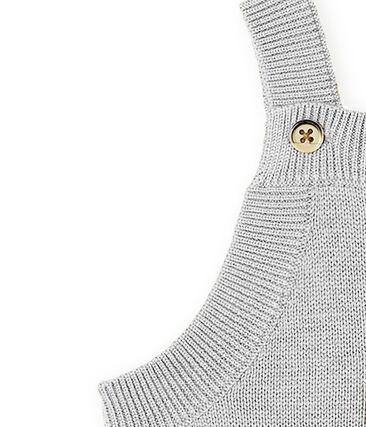 Lange Baby-Latzhose aus Woll-Nylon-Alpaka-Strick für Jungen. grau Montelimar Chine