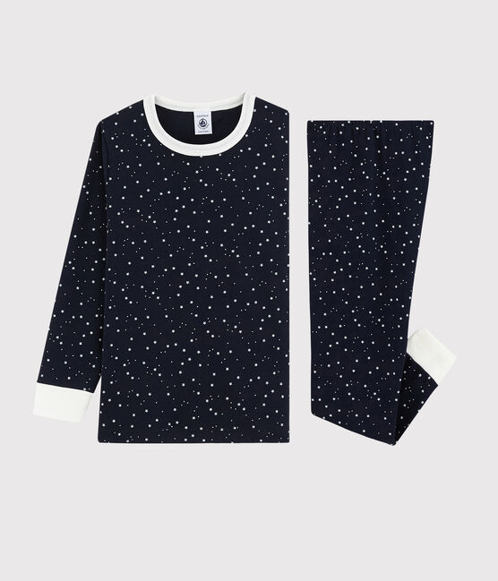 Pyjama à étoiles blanches petit garçon en côte blau Smoking / weiss Marshmallow