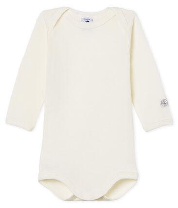 Langärmliger Baby-Body aus Wolle und Baumwolle