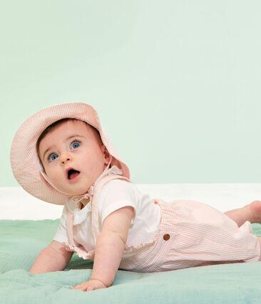 Hütchen aus Seersucker für kleine Mädchen. weiss Marshmallow / rosa Rosako