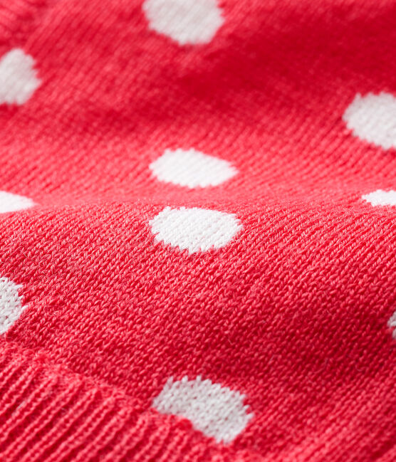 Kapuzenmütze für Babys, unisex rot Signal / weiss Marshmallow