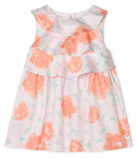Gemustertes Baby-Kleid aus Satin für Mädchen rosa Vienne / weiss Multico