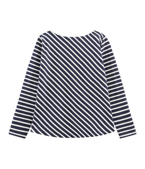 Grafisches Streifenshirt für Damen blau Smoking / beige Coquille