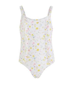 Einteiliger Badeanzug für Mädchen, LSF 50+ weiss Marshmallow / weiss Multico