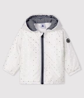 Baby Jacke mit Print für Mädchen/Jungen weiss Marshmallow / grau Argent