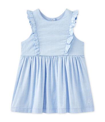 Einfarbiges Baby-Mädchen-Kleid mit Volantärmeln