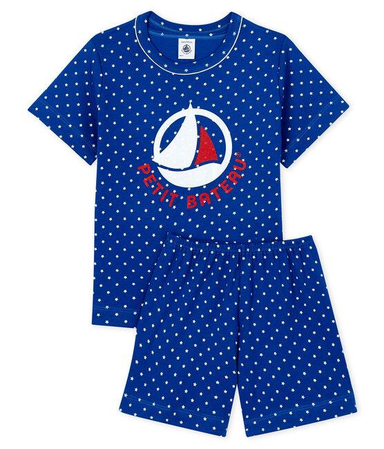 Rippstrick-Kurzpyjama für kleine Jungen blau Surf / weiss Marshmallow