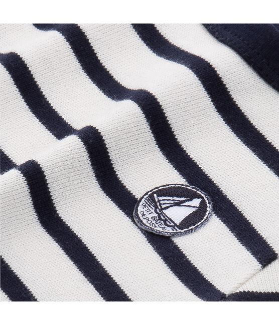 Ikonisches Baby-Streifenshirt Unisex beige Coquille / blau Abysse