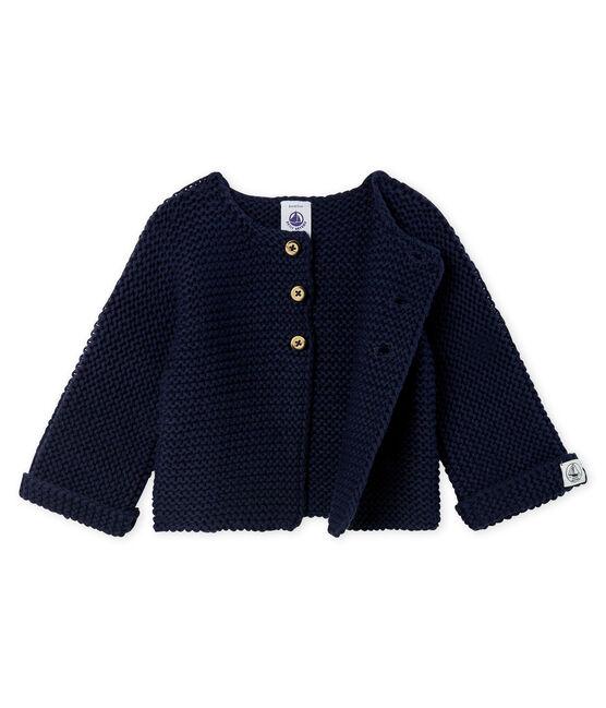 Baby-Cardigan aus Woll-Baumwoll-Mischung in Krausstrick für Mädchen blau Smoking