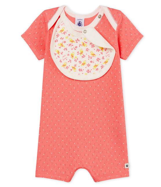 Baby-Kurzoverall Mädchen rosa Cupcake / weiss Marshmallow