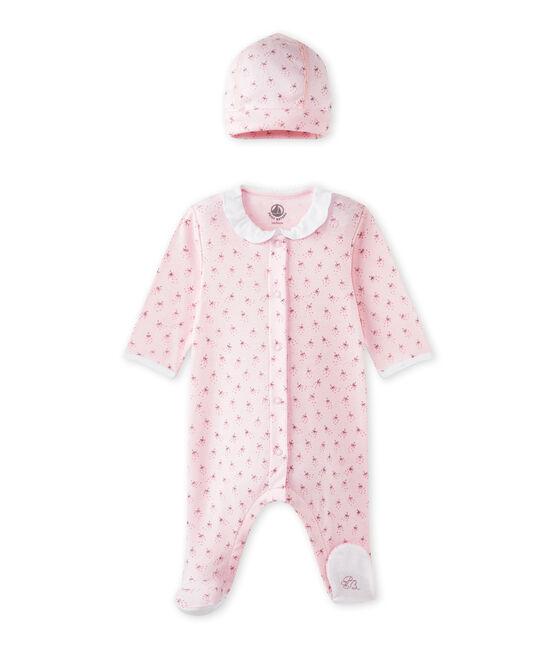 Baby-Mädchen-Strampler und Mütze für Neugeborene rosa Vienne / weiss Multico