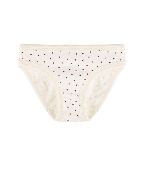 Unterhose für kleine Mädchen weiss Marshmallow / rot Clafouti
