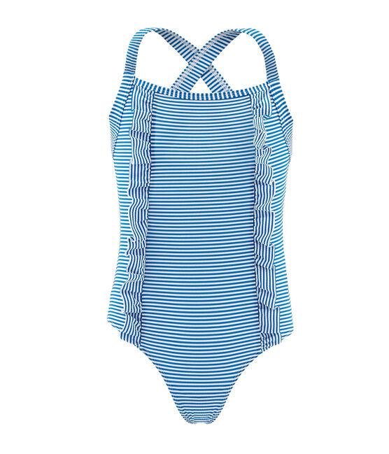 1-teiliger Kinder-Badeanzug Mädchen blau Riyadh / weiss Marshmallow