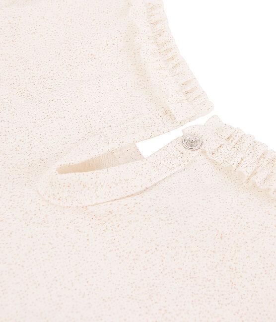 Mädchen Langarmshirt mit Milleraies Ringelstreifen weiss Marshmallow / rosa Copper
