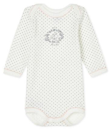 Langärmliger Baby-Body weiss Lait / grau Maki
